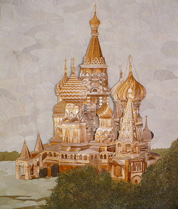 Painting a temple made of straw