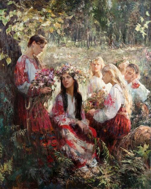 Russian custom to weave wreaths of wild flowers