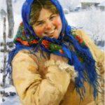 'A girl in a blue scarf', 1935. Artist Fedot Sychkov