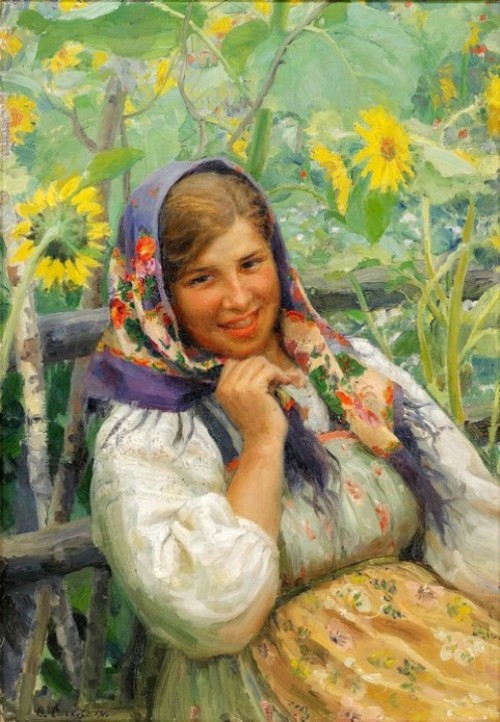 'Among sunflowers'. Artist Fedot Sychkov