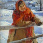 'At a hedge. Winter', 1931. Artist Fedot Sychkov