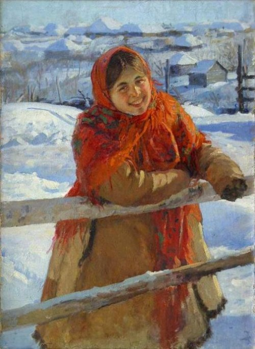 'At a hedge. Winter', 1931. Artist Fedot Sychkov