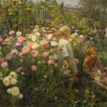 'Children in flowers', 1932. Artist Fedot Sychkov