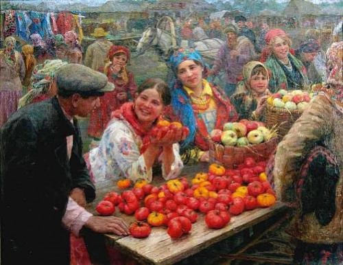 'Collective Farm Market', 1936. Artist Fedot Sychkov