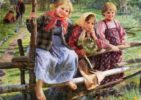 'Girlfriends', 1916. Artist Fedot Sychkov