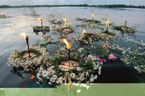 Midsummer girls make wreaths, stuck candles into them, leave them on the water