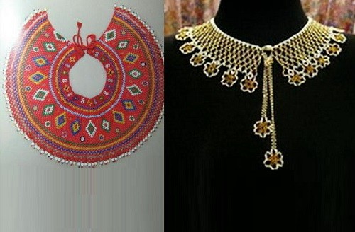 Naborushnik (Mantle, glunets) – circular decoration, front decorated with embroidery, gold or silver thread, gold thread, colored foil stripes, pearls or beads