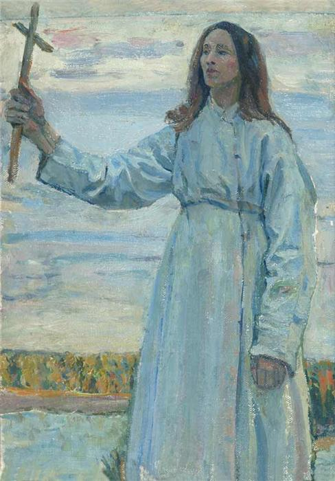 Saint Russia by Mikhail Nesterov. Girl with a Cross 1920