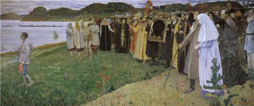 Saint Russia by Mikhail Nesterov In Russia. The soul of the people (variants In Russia, Christians) 1916