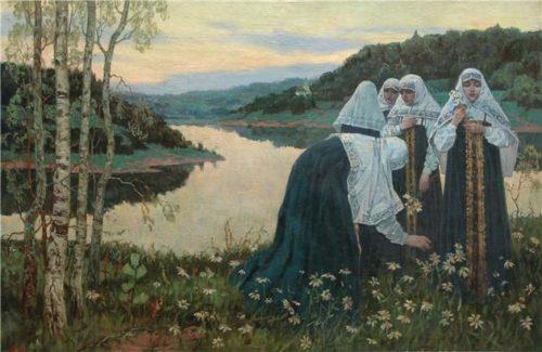 Saint Russia by Mikhail Nesterov. Nesterov M.V. Novices on the banks of the river. 1920