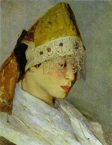 Saint Russia by Mikhail Nesterov. Nesterov M.V. The girl in the kokoshnik. Portrait of Maria Nesterova. 1885