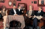 Photo project of Rozhdestvenskaya 'Relatives'. Natalya Seleznyova and her husband Vladimir Andreev sitting on the sofa