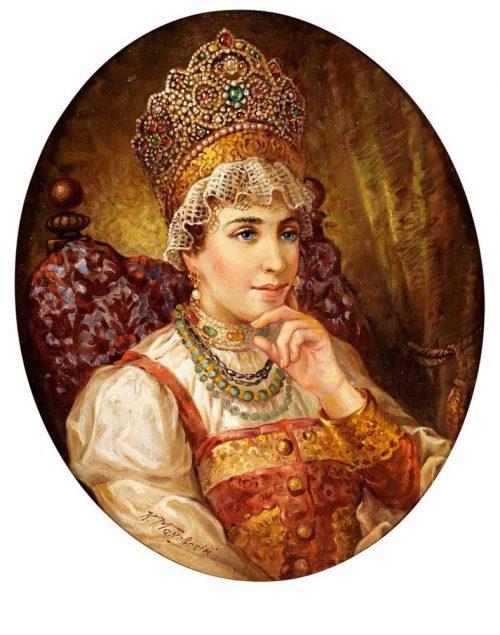 Portrait einer jungen Frau in russischer Tracht