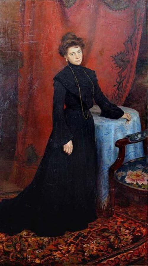 'Portrait of Lydia Vasilevna Sychkova, the Artist's Wife', 1904. Russian artist Fedot Sychkov