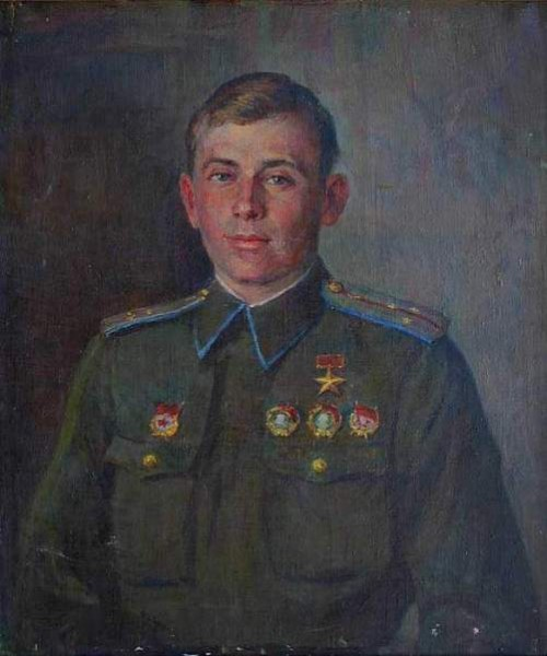 'Portrait of a Hero of the Soviet Union, pilot Alexander G. Kotov', 1943. Artist Fedot Sychkov