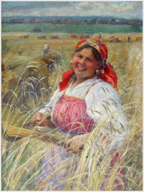 'Reaper', 1931. Russian artist Fedot Sychkov