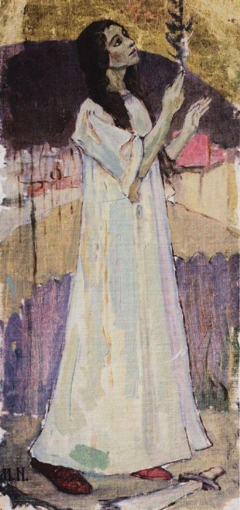 Saint Varvara. Painting by Russian artist Mikhail Nesterov