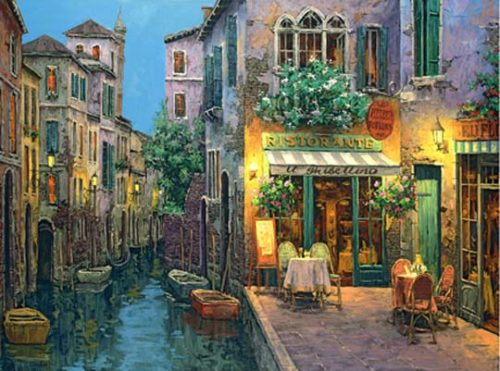 Twilight at IL Ghibellino. Painting by Russian artist Viktor Shvaiko