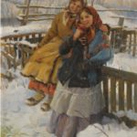 'Two girls on the snow', 1929. Artist Fedot Sychkov