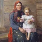 'Woman with child. Portrait of Sister', 1903. Artist Fedot Sychkov