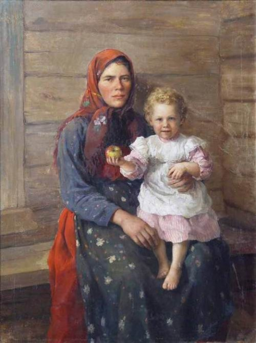 'Woman with child. Portrait of Sister', 1903. Russian artist Fedot Sychkov