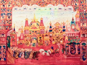 City Square. Set design for the ballet 'The Golden Cockerel' 1937. Natalia Goncharova. The City Square. The museum of modern art