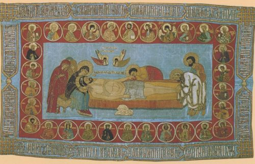 Epitaphios (Ipatyevsky). Shroud. Moscow. 16th-century Russian orthodox embroidery