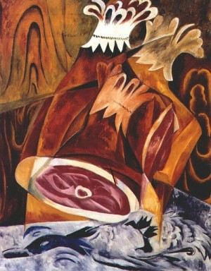 Still life with ham and duck, 1912. Oil on canvas. The State Russian Museum