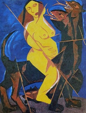 Virgo and the beast, 1911, Kostroma historical and architectural and art museum. From the series 'The Harvest'