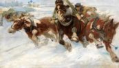 Russian troika. Painting by Pyotr Gruzinsky
