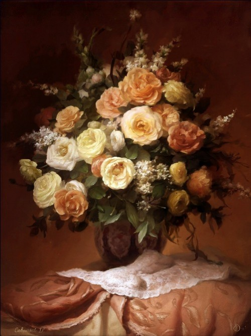 Even number of flowers in Russian tradition. Painting by Russian artist Dmitry Sevryukov