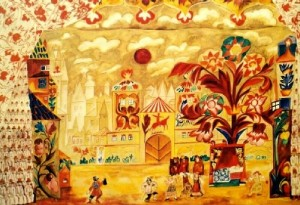 The Golden Cockerel. Scenery sketch, 1914 (-). 1914, commissioned by Diaghilev for the opera-ballet 'The Golden Cockerel' by Rimsky-Korsakov