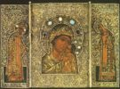 The Petrovskaya Virgin with Metropolitans Peter and Alexius. Triptych. Second half of the 16th century. Novgorod