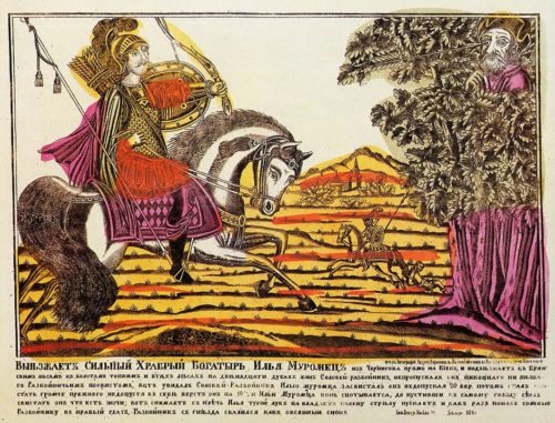 Splint. Ilya Muromets and Nightingale the Robber. XVIII century. Russian Lubok
