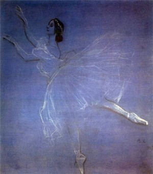 'La Sylphide' in 1909 painting by Valentin Serov