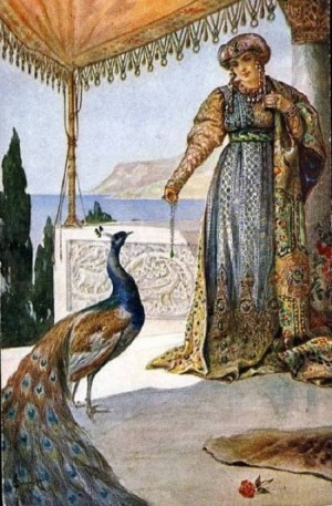 Lady with a peacock