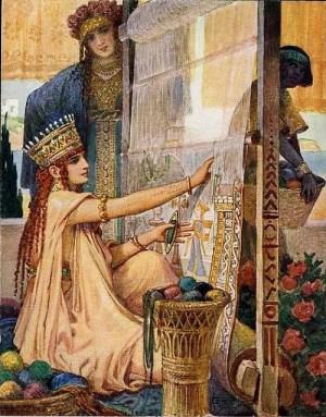 Persian woman weaving a carpet