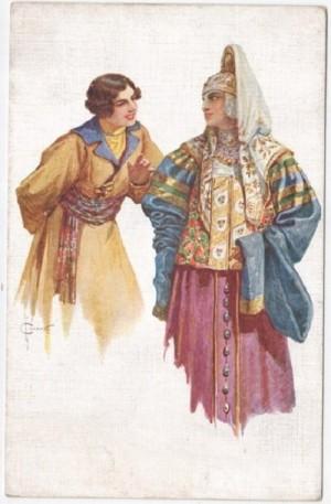 Tenderness. Russian watercolorist Sergey Solomko (1867 – 1928)