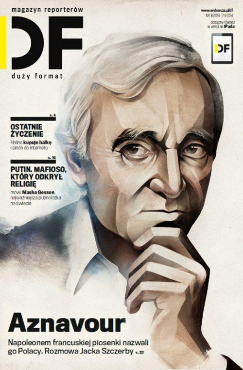 Moscow illustrator Alexey Kurbatov. Charles Aznavour