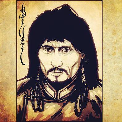 Russian president Vladimir Putin as a Mongol Khan.