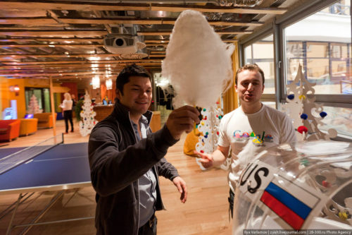 Russian Google office. After playing table football, you can take cotton candy and go to work.