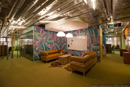 Russian Google office. Various zones and rooms