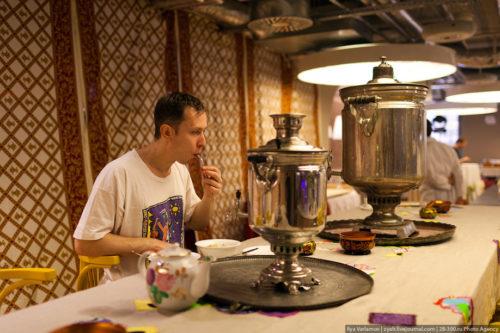 Tea drinking in Russian style, tea from a samovar. Russian Google office