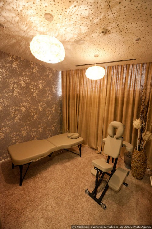 There is a massage room for employees, a massage therapist works in the office.