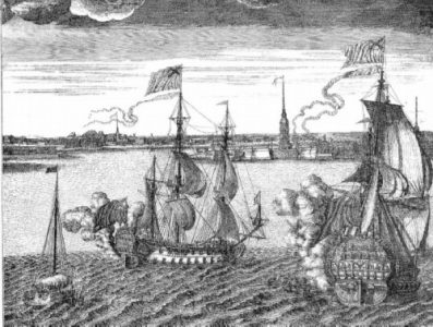A view of St. Petersburg by Alexey Zubov, 1716, shows yachts and war ships on the Neva River.