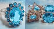 Mineralogical province Russian Brazil. Jewelry made of Blue topaz