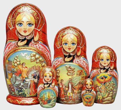 Russian nesting doll with pictures from Russian fairy tales