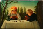 Tea caddy 'Dining Children'. The end of the XIX century. Workshop of VO Vishnyakov, Moscow Province