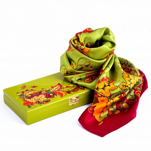 Natural silk scarf in a gift box