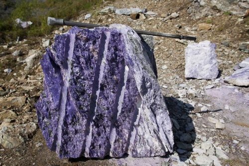 Unique Russian mineral Charoite. Block of high-quality charoite of the Novy site, Sirenevy Kamen deposit